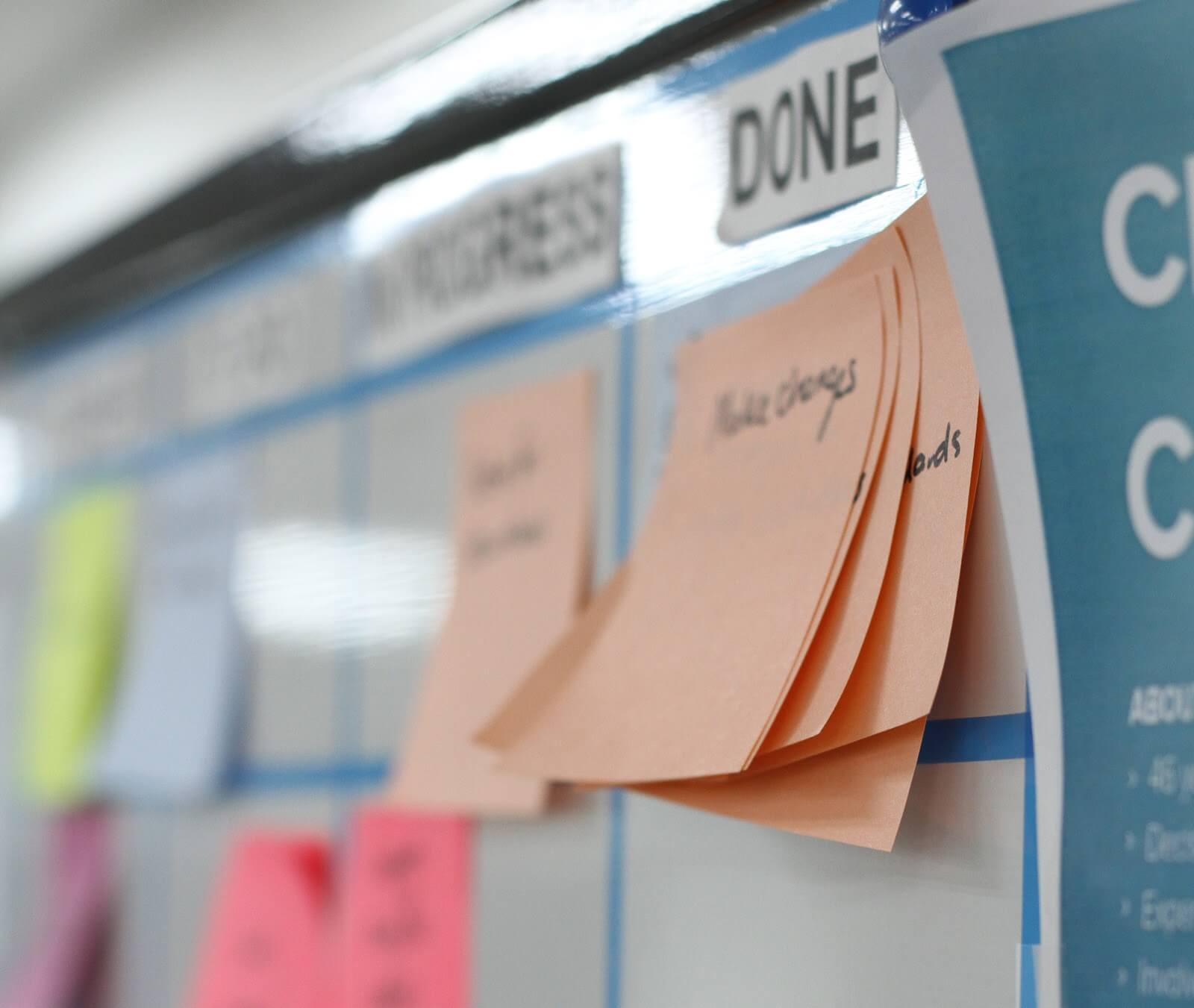 A close-up of the Done column of a Scrum board showing the post-it notes for the completed stories.