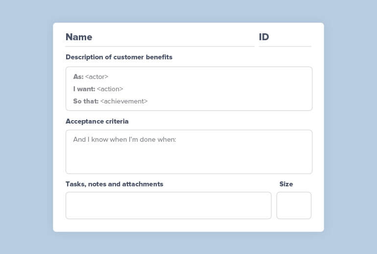 A mock-up of a user story card showing that a user story can include these elements: ID number, Name, Description of the customer benefit, Acceptance criteria, Tasks, notes and attachments, Estimation, Status