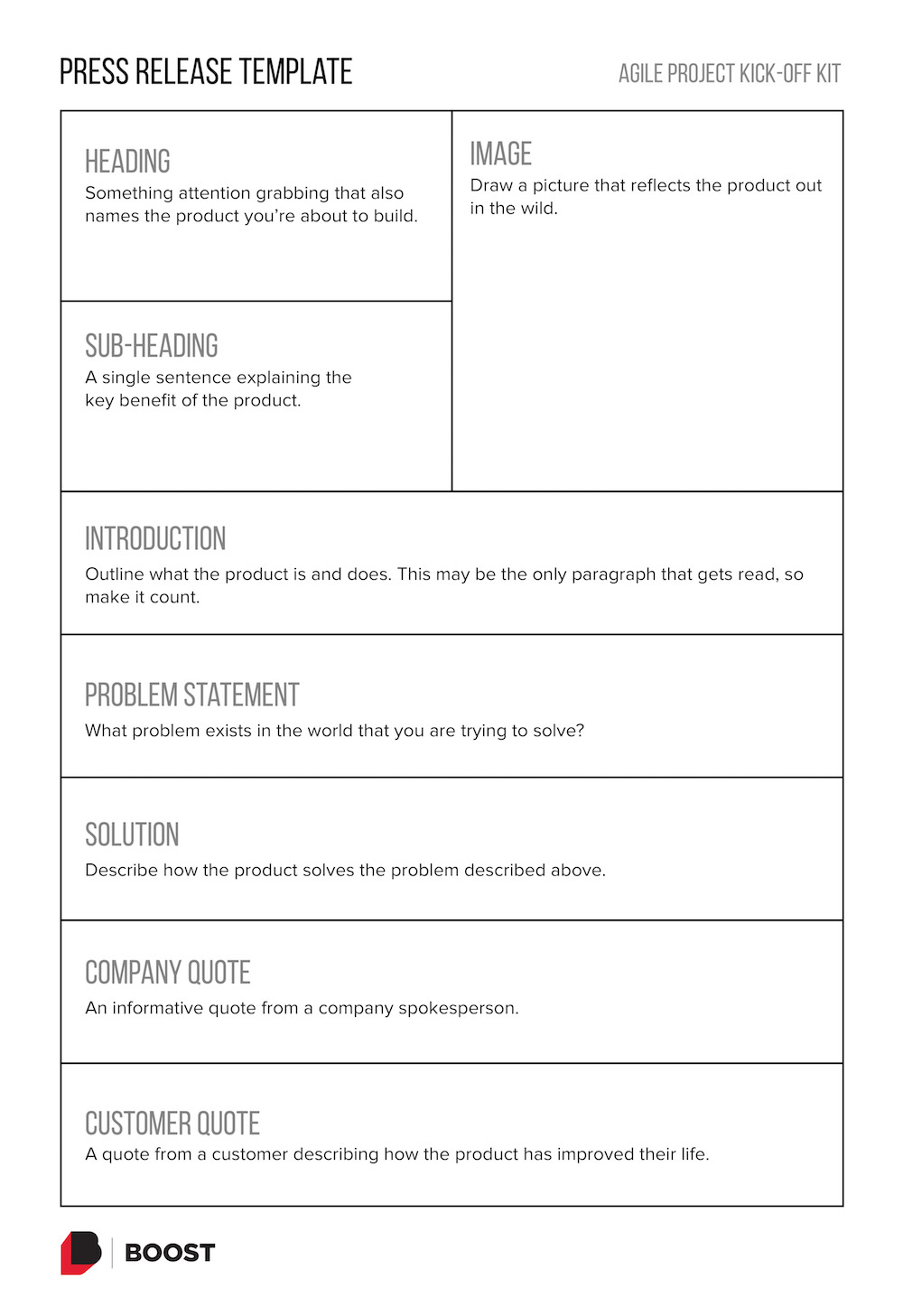 Press Release template. Click to get a PDF of the template.