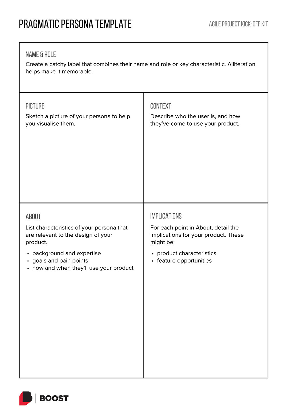Pragmatic Persona template. Click to get a PDF of the template.